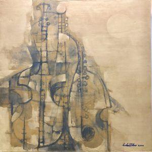 Hồ Hữu Thủ, bản hoà tấu dưới trăng, sơn dầu, 100x100cm, 2000