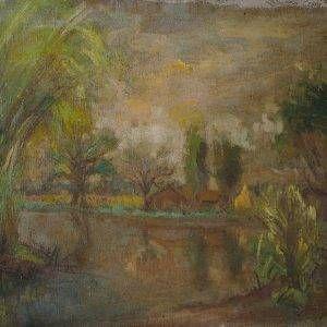 Hồ Phòng, Cảnh vùng ngã tư 4 xã, sơn dầu, 45x55 cm, đầu thập niên 1980