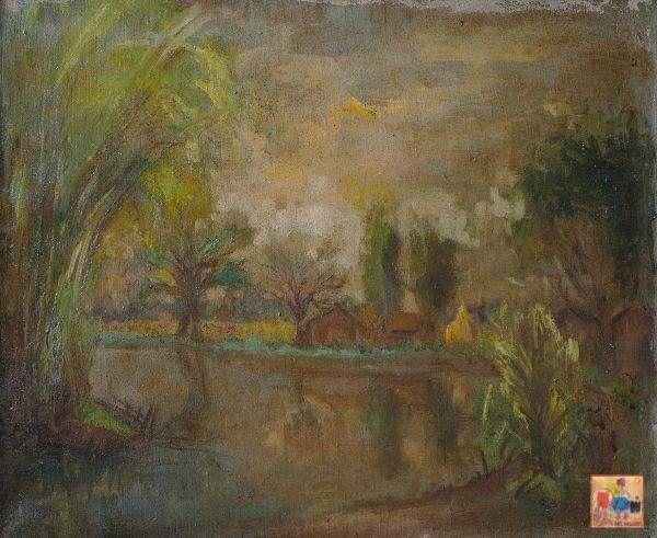 Hồ Phòng, Cảnh vùng ngã tư 4 xã, sơn dầu, 45×55 cm, đầu thập niên 1980