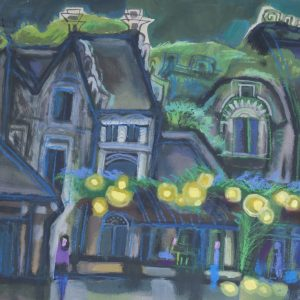 Nghiêm Xuân Hưng, đêm xanh, bột mầu, 48x58cm, 1994-2016