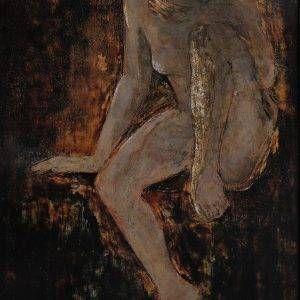 Nguyễn Đăng Giáp, Một mình, sơn mài, 70×50 cm, 2012