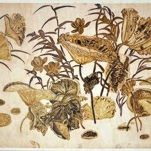 Nguyễn Gia Trí, phác thảo sen (2), sơn ta trên giấy can, 51×71,5cm
