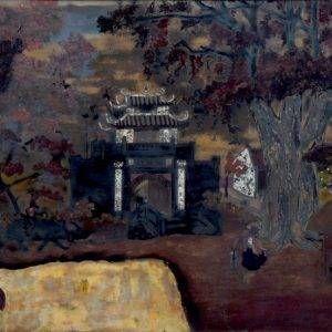 Nguyễn Tiến Chung, cổng làng Ước Lễ, sơn mài, 50x90cm, 1943