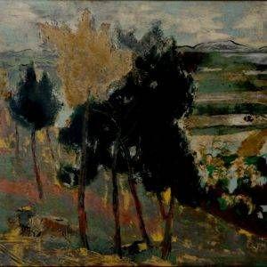 Nguyễn Tiến Chung, chiều về, sơn mài, 40x60cm, 1963
