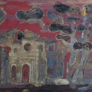 Nguyễn Xuân Việt, Đền Quán Thánh, 60x118cm, sơn mài, 1997