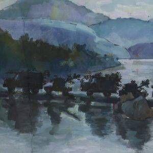 PC 14A Cảnh đường ra trận, bột mầu, 24x37cm, 1971, Nguyễn Sĩ Thiết