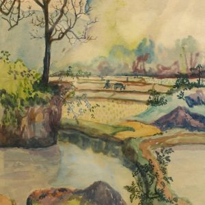 PC 33A phong cảnh Bó Mịn, mầu nước, 33,5×24,5cm, 1964, Nguyễn Sĩ Thiết (có khung)