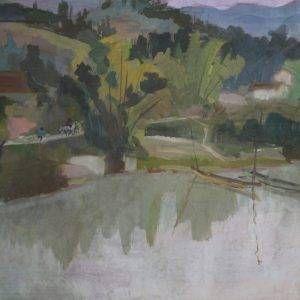 Phong cảnh của họa sĩ Nguyễn Sĩ Thiết được vẽ bằng chất liệu bột màu, có kích thước 35.5 x 50.5 cm. Bức tranh Phong cảnh được sáng tác vào năm 1970