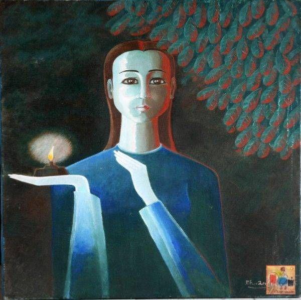 Đèn dầu, sơn dầu, 70x50cm, 2005