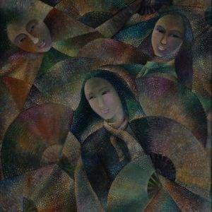 Sa Vũ, múa quạt, sơn dầu, 95×75, 2010