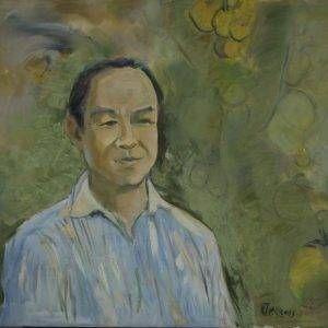 Thẩm Đức Tụ, nhớ về quê hương (chân dung Trương Văn Thuận), sơn dầu, 91x80cm, 2013