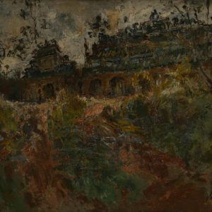 Tác phẩm Phong cảnh Huế được vẽ bằng sơn dầu, có kích thước 45 cm x 60 cm