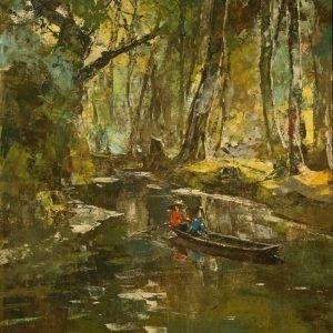 Văn Đen, nắng chiều, 45×61, Sơn dầu, 1962