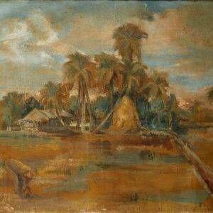 Văn Đen, phong cảnh làng quê, 80×120, Sơn dầu