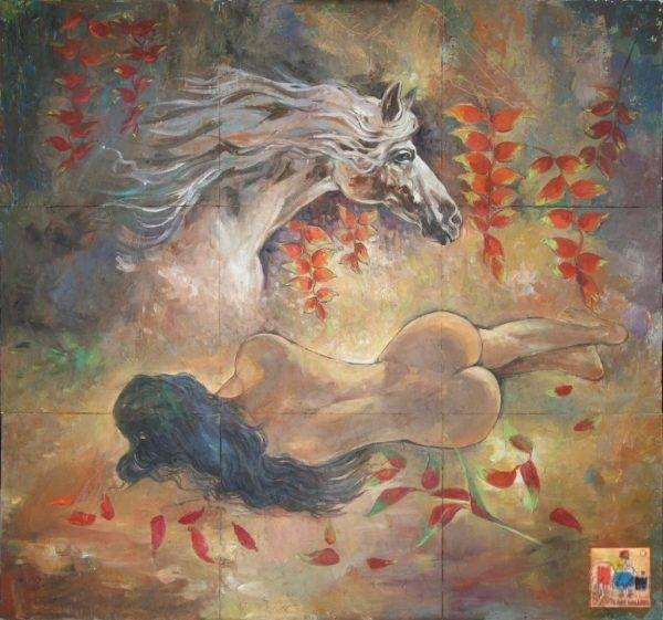 Văn Y, Ngày trở về của ngựa hoang, sơn dầu, 145x159cm