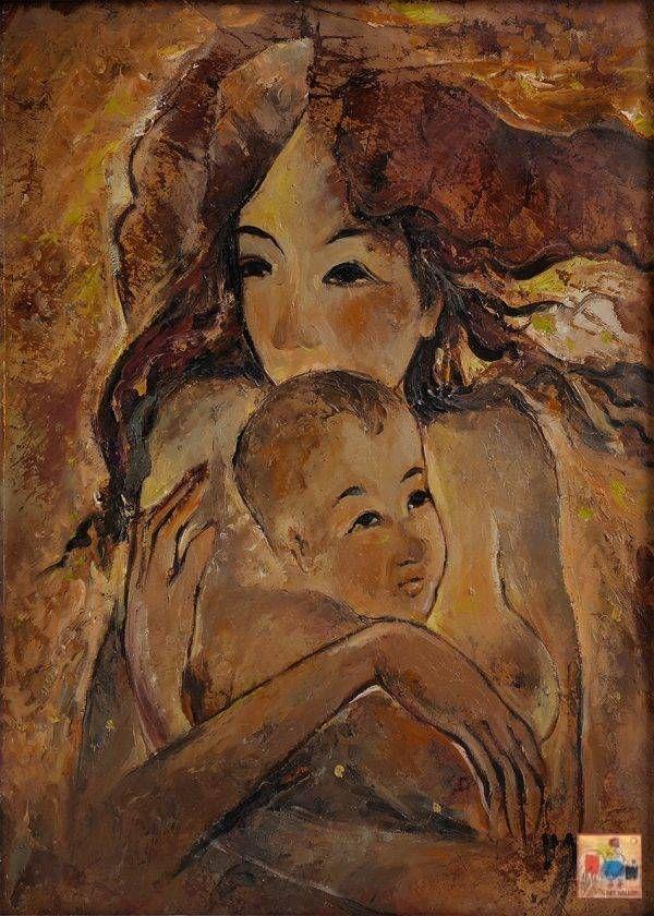 Văn Y, Tình mẫu tử, sơn dầu, 70x50cm