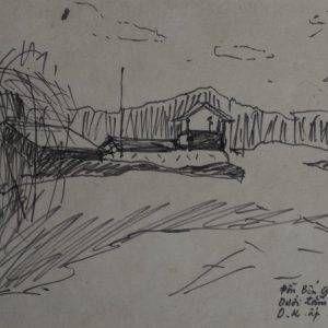 13.Vũ Ba, ký họa đồn Bến Giồng Tương, bút lông, 16×24, 1972