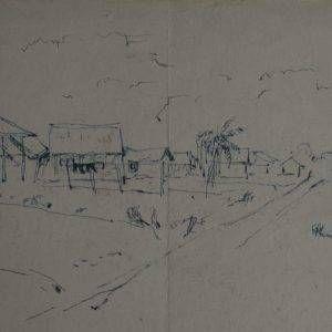 18.Vũ Ba, ký họa phong cảnh, bút sắt, 22×31
