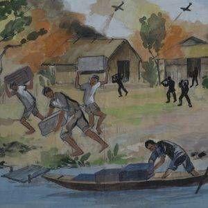 21.Vũ Ba, ký họa vận chuyển vũ khí, bút sắt đệm mầu nước, 21×32