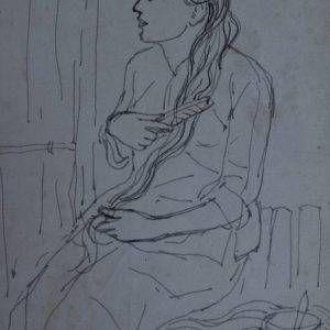 8.Vũ Ba, ký họa chải tóc, bút sắt, 18×13, 1968