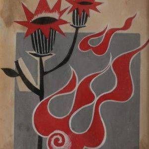 Tạ Tỵ, Hoa lửa, bột mầu, 9×11