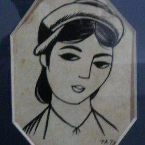 Tạ Tỵ, Thiếu nữ xưa, mầu nước, 8×10