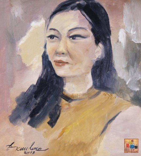 Đặng Kim Long, chân dung NS Ánh Tuyết, sơn dầu, 40x40cm, 2017