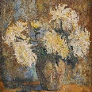 Đoàn Hồng, tĩnh vật hoa cúc, sơn dầu, 70x53, 1990 (NEW)