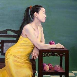 Đoàn Hồng, ngày cuối tuần (chân dung NS Ánh Tuyết), sơn dầu, 92x73cm, 2016