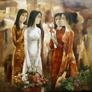 .Đặng Kim Long, Hội ngộ 20.11 Hiến chương Nhà giáo, sơn dầu, 150x150cm, 2012