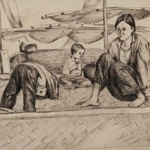 Đoàn Hồng, ký họa hè Cát Hải, chì than, 29x40cm, 1996
