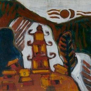 Bùi Minh Dũng, chùa cổ, bột mầu, 52x68cm, 2000
