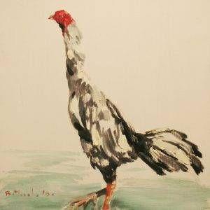 Bùi Văn Tuất, gà Đinh dậu, sơn dầu, 50x40cm, 2017