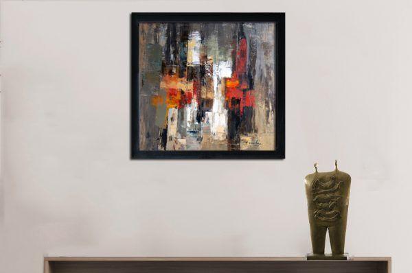 Đặng Kim Long, Trừu tượng-một thoáng kỷ niệm, sơn dầu, 100x100cm, 2013