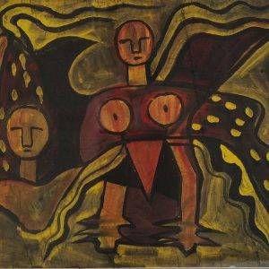Bùi Minh Dũng, đàn ông và đàn bà, bột mầu, 52x68cm, 1996