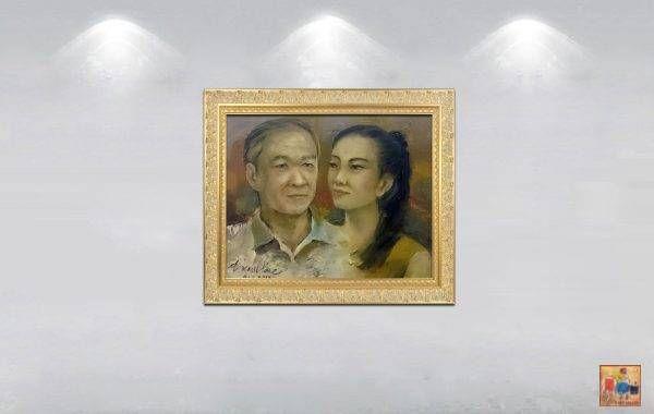 Đặng Kim Long, vợ chồng, sơn dầu, 40x50cm, 2017