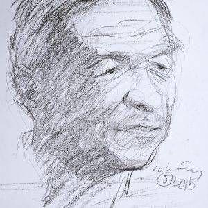 4.Đỗ Hoàng Tường, ký họa Trương Văn Thuận, chì, 28×32, 2015, cắt