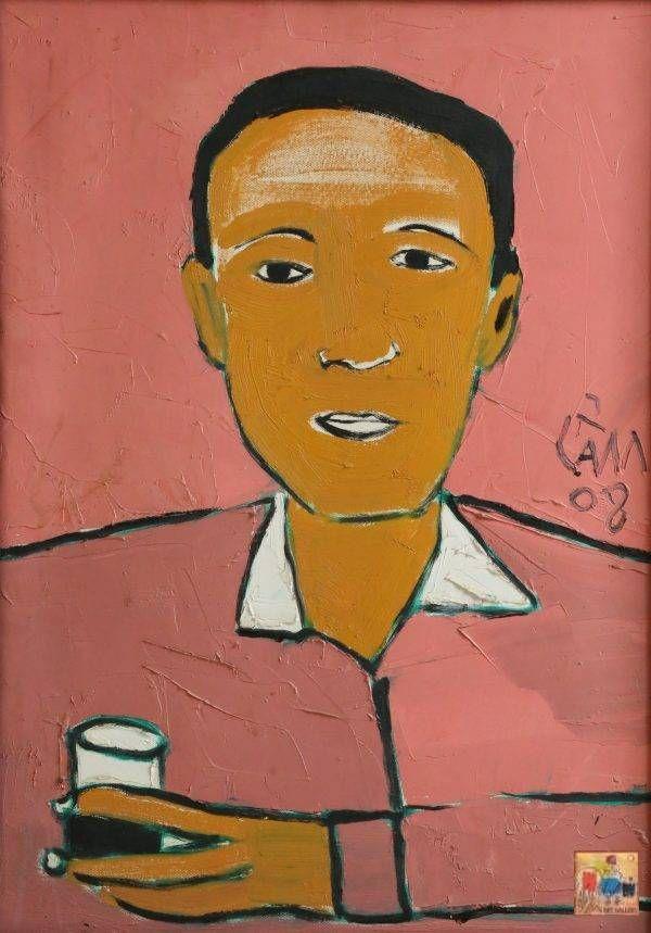 Hoàng Hồng Cẩm, chân dung Trương Văn Thuận, sơn dầu, 70x50, 2008