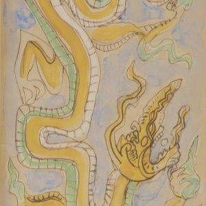 Bùi Xuân Phái, rồng, mầu nước, 15×21, 1988