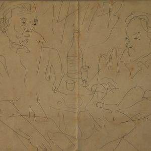 Bùi Xuân Phái, tri kỷ (Nguyễn Dung và Dương Bích Liên), bút sắt, 30×40, 1973