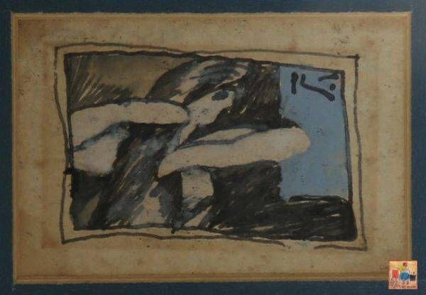 Bùi Xuân Phái, chải tóc, mầu nước, 4×6