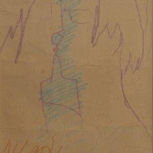 Bùi Xuân Phái, nụ hôn, chì sáp, 30×44, 1984