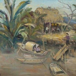 Thuận Hồ, Bến đò, sơn dầu, 68×80, 1996 (1)