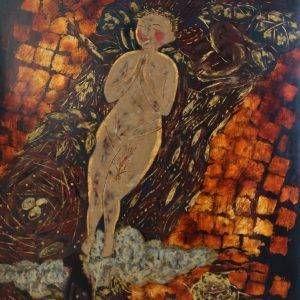 Dòng sông hát, sơn mài, 80x60cm, 2009
