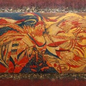 Gà – Phượng, sơn mài, 90x150cm, 2011
