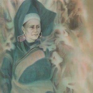 Mai Long, trên nương, lụa, 95x75cm, 1990