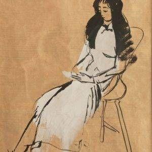 Lưu Công Nhân, đọc sách, mầu nước và mực nho, 40×50