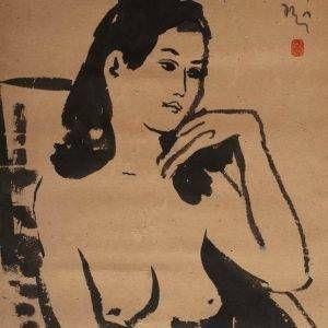 Lưu Công Nhân, nude 3, mực nho, 40×30, 1982