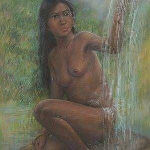10.Lâm Kim, thiếu nữ, phấn tiên, 75x55cm, 1979