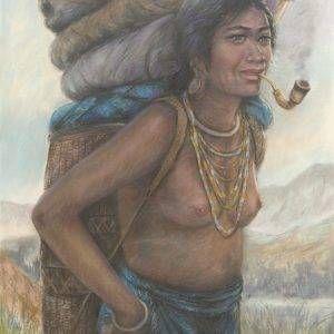 Lâm Kim, về buôn, phấn tiên, 75x55cm, 1982